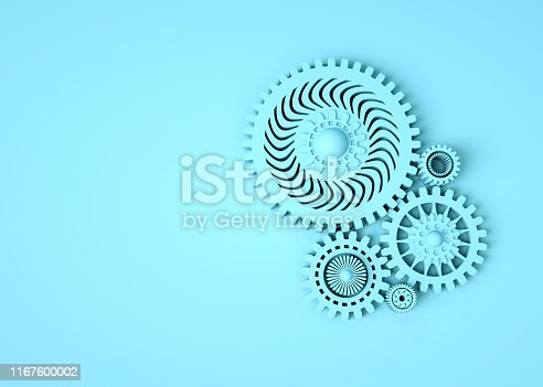 istock Composition of blue gears symbolizing cooperation and teamwork. Place for text. Monochrome. Minimal concept 3d render 1167600002