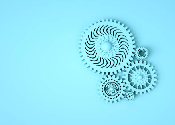 Composition of blue gears symbolizing cooperation and teamwork. Place for text. Monochrome. Minimal concept 3d render stock photo