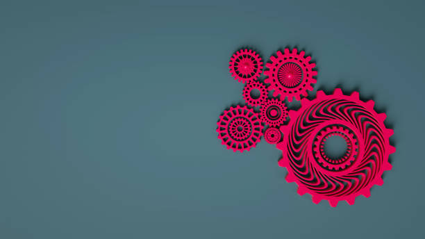 3D composition of coral pink red gears symbolizing cooperation and teamwork. Business mechanism concept. Place for text. Minimal concept. 3d render. Coral pink red gears on gray background. stock photo