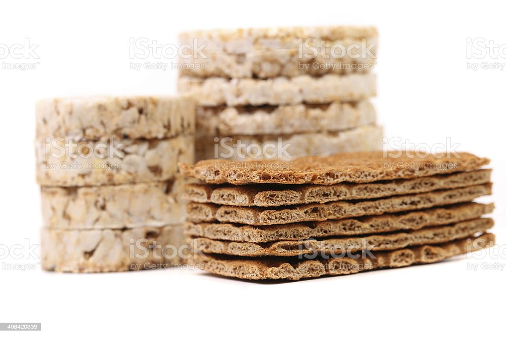 Composition of corn cracker and bread crisps. royalty-free stock photo