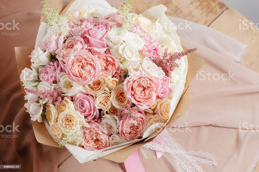 composition of different varieties roses. florist did rich bunch flowers royalty-free stock photo