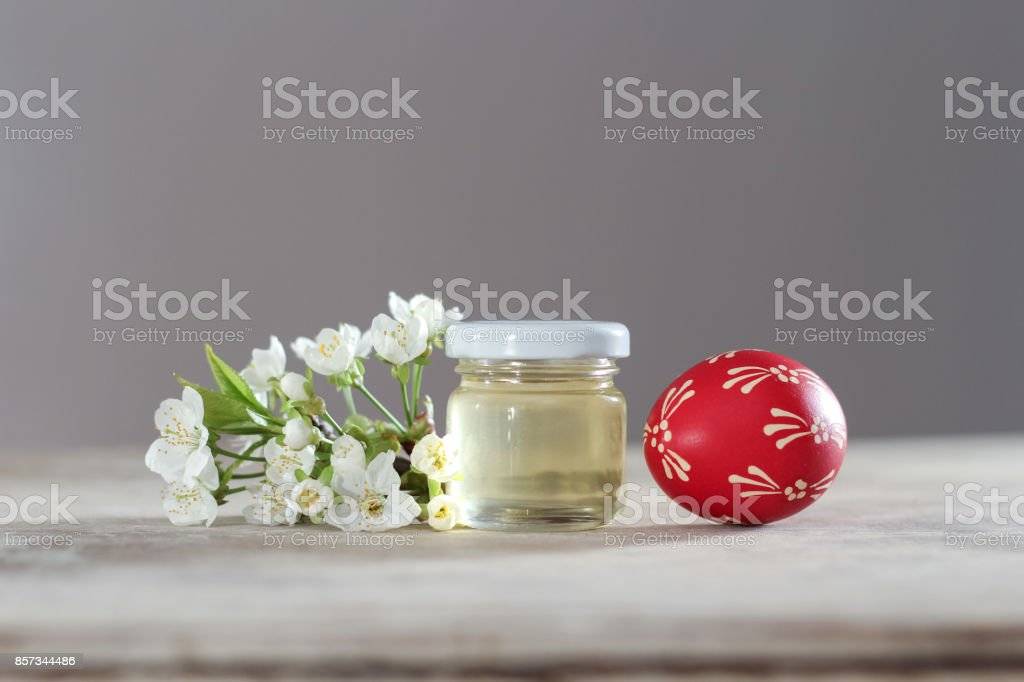 Composition of easter eggs painted with beeswax and honey stock photo