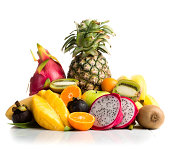Composition of exotic fruits isolated on white