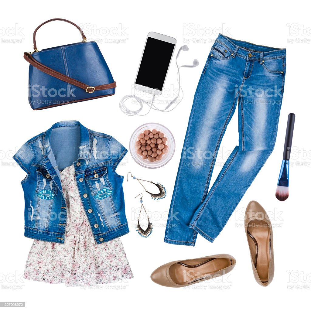 Composition of female summer clothes and accessories isolated on white stock photo