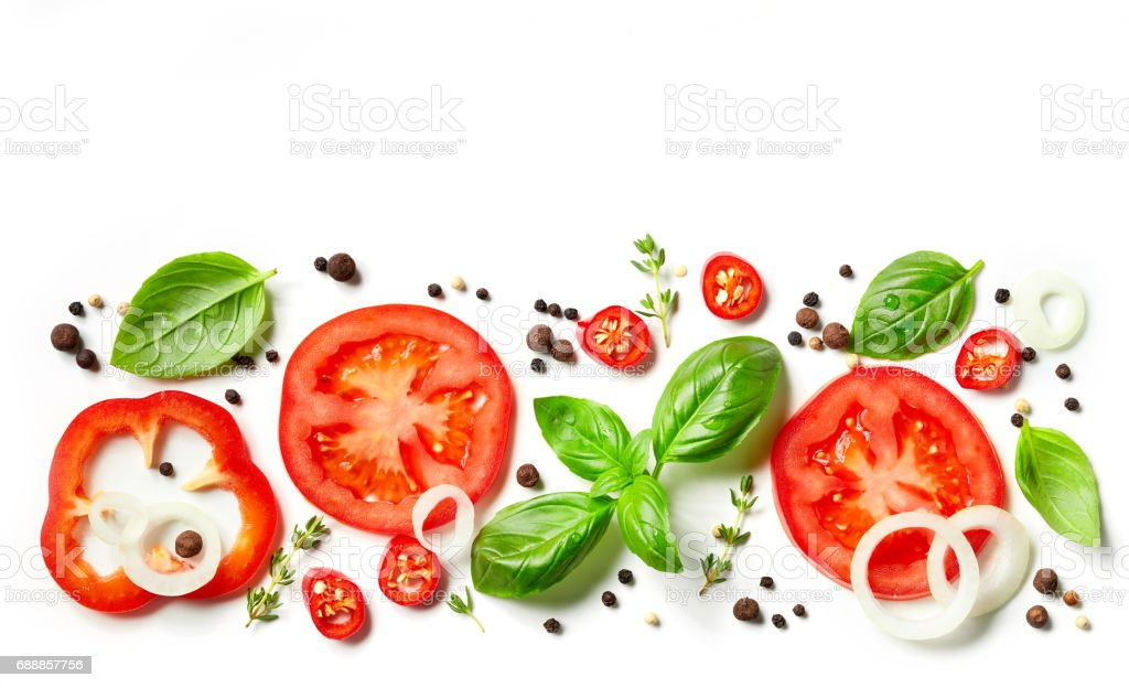 composition of fresh vegetables and spices stock photo