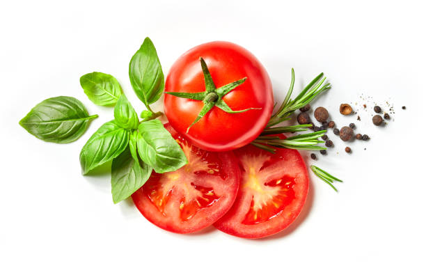 composition of fresh vegetables and spices - basil stock photos and pictures
