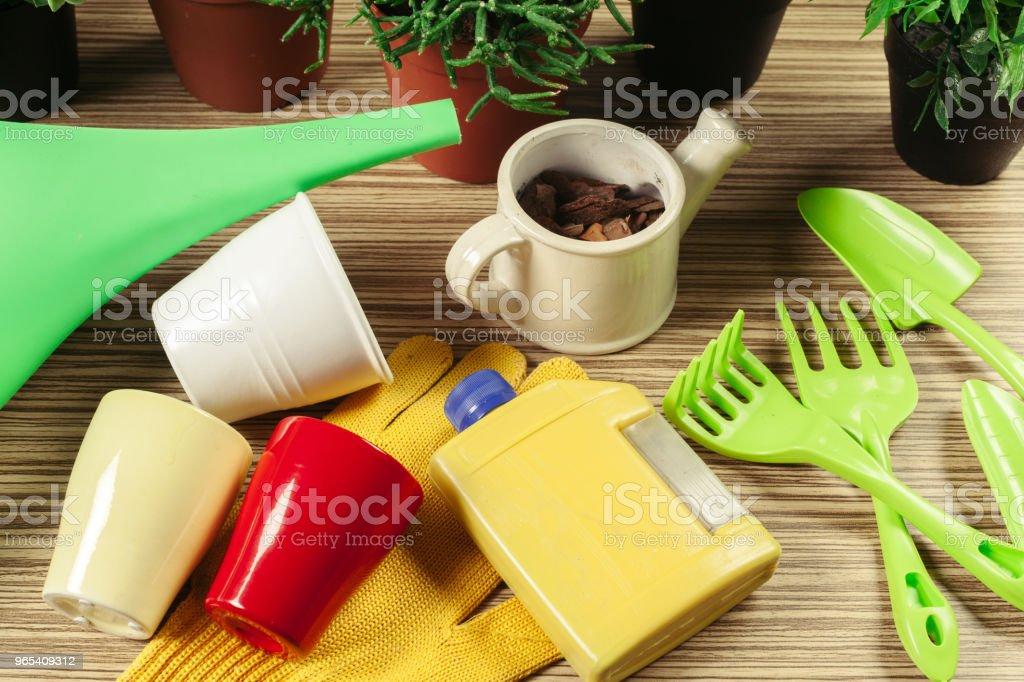 Zusammensetzung der Gartenwerkzeuge - Lizenzfrei Arbeiten Stock-Foto