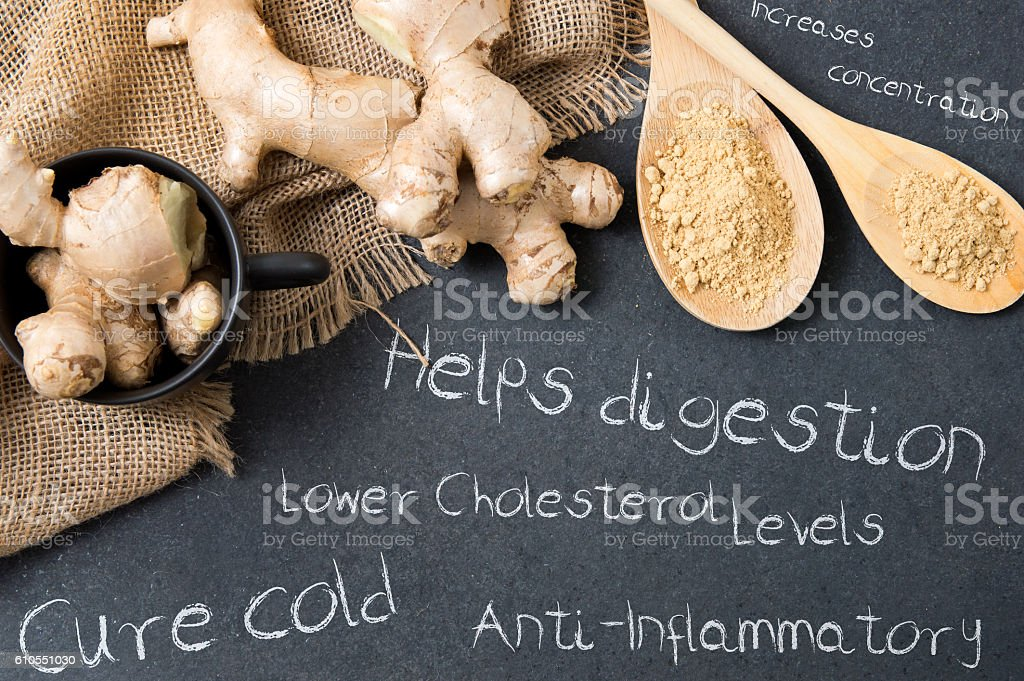 Composition of ginger on a stone countertop stock photo
