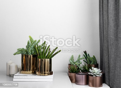 istock Composition of gold mirror ceramic pots with artificial plants inside setting on minimal books and group of copper aluminium pots in natural light setting scene / cozy interior concept / decoration 1083552706