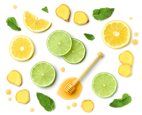 lemonade in jar with ice and mint.  with clipping path.