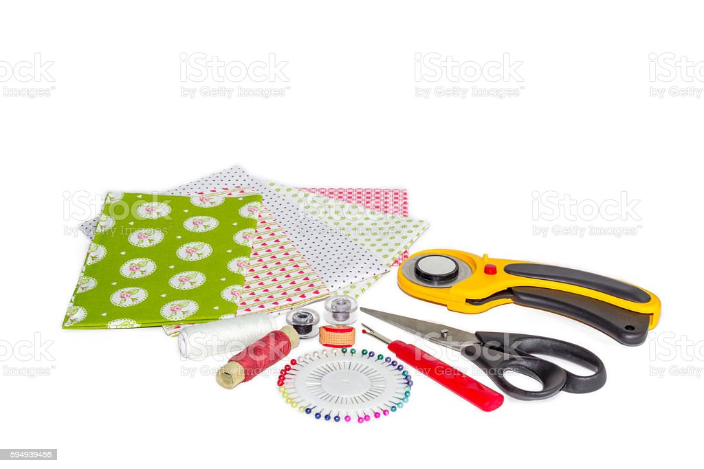 Composition of instruments, items and fabrics for patchwork and quilting stock photo