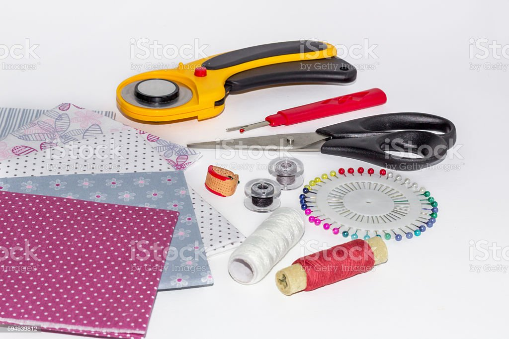 Composition of instruments, objects and fabrics for patchwork stock photo