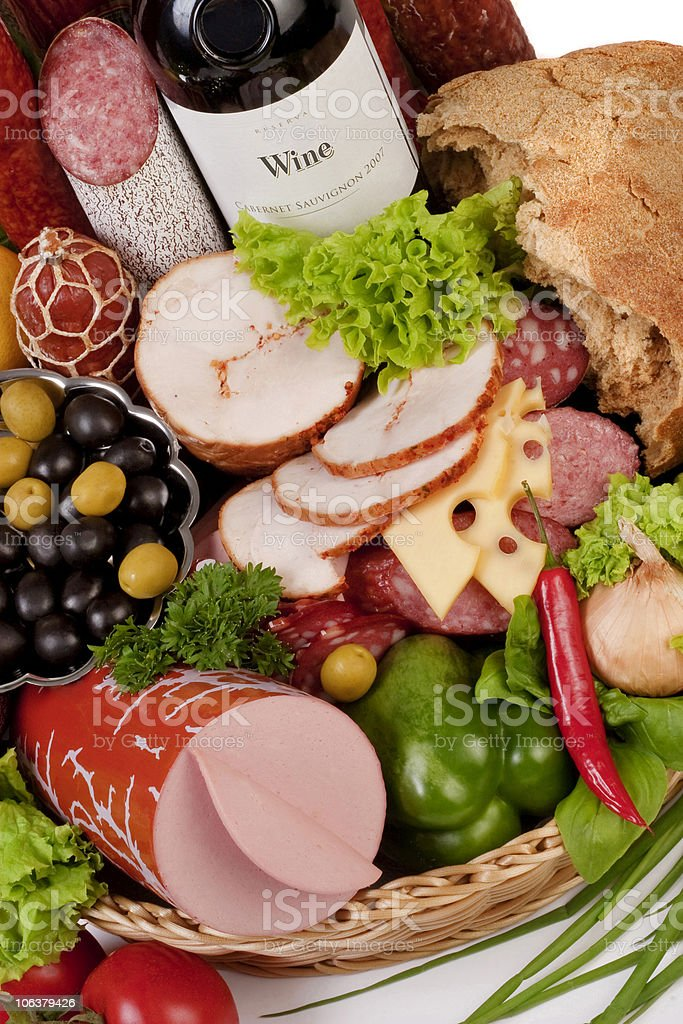 Composition of meat and vegetables with wine royalty-free stock photo