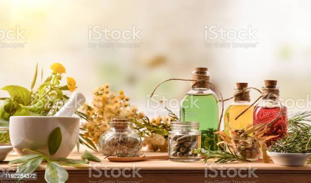 Photo of Composition of natural alternative medicine with capsules essence and plants