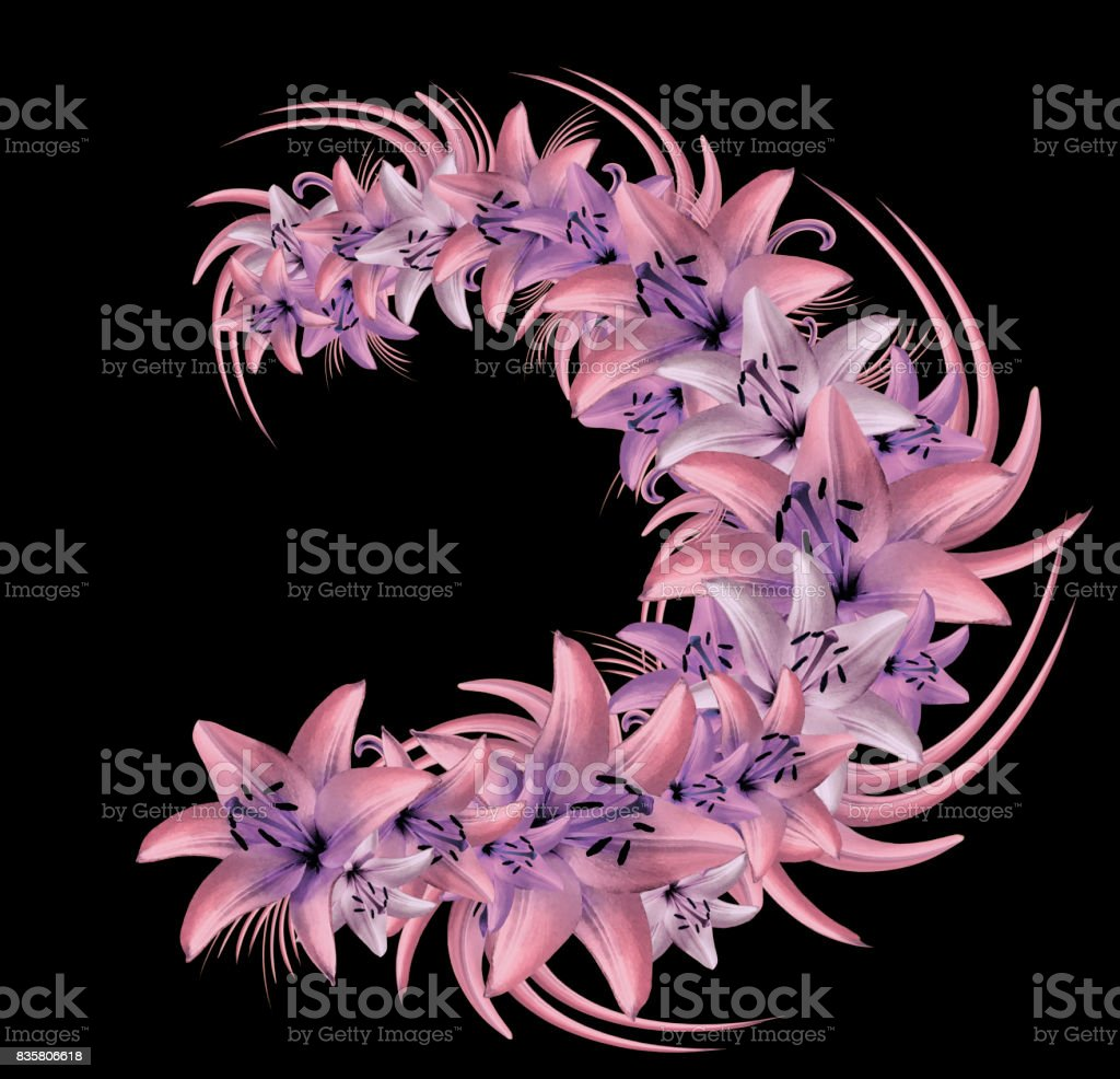 Composition Of Pinkviolet Flowers Lilies On The Black Background