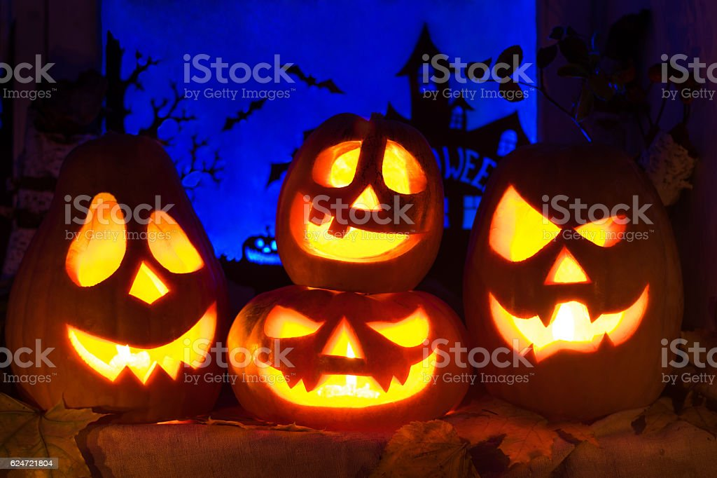 Composition of pumpkins for Halloween holiday stock photo