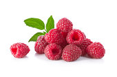 Composition of raspberries with a leaf on a white background.