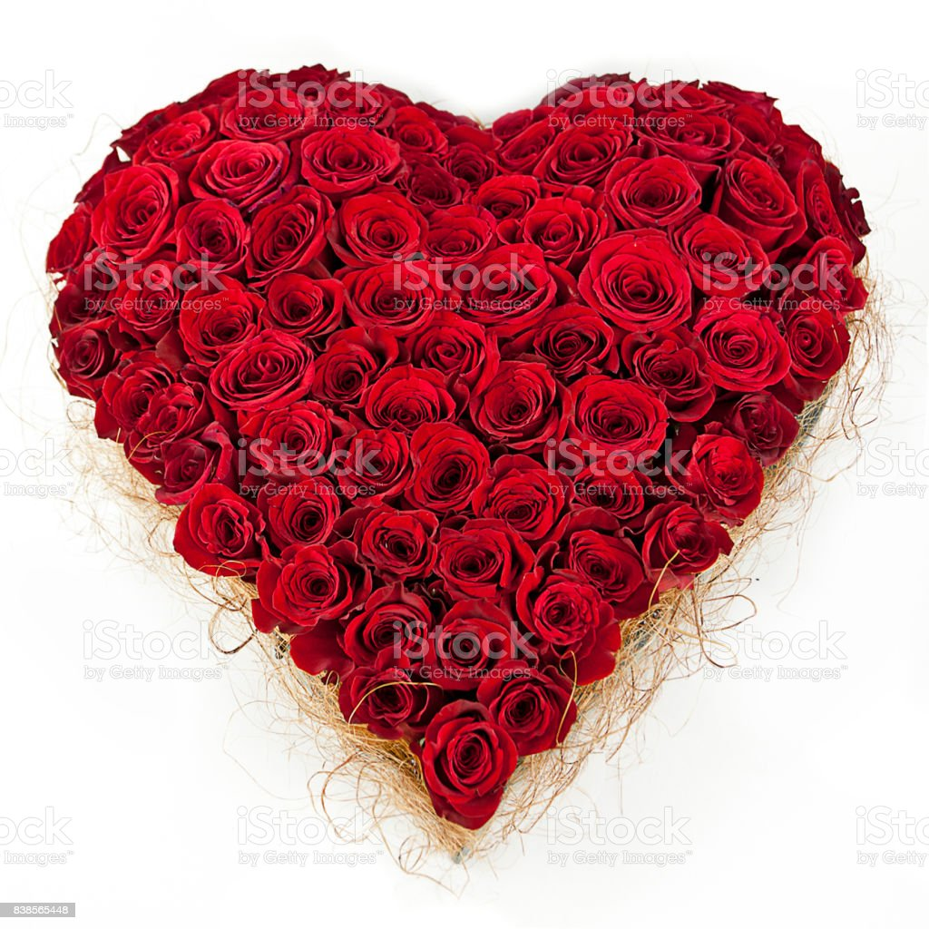composition of red roses in the shape of heart isolated on white stock photo