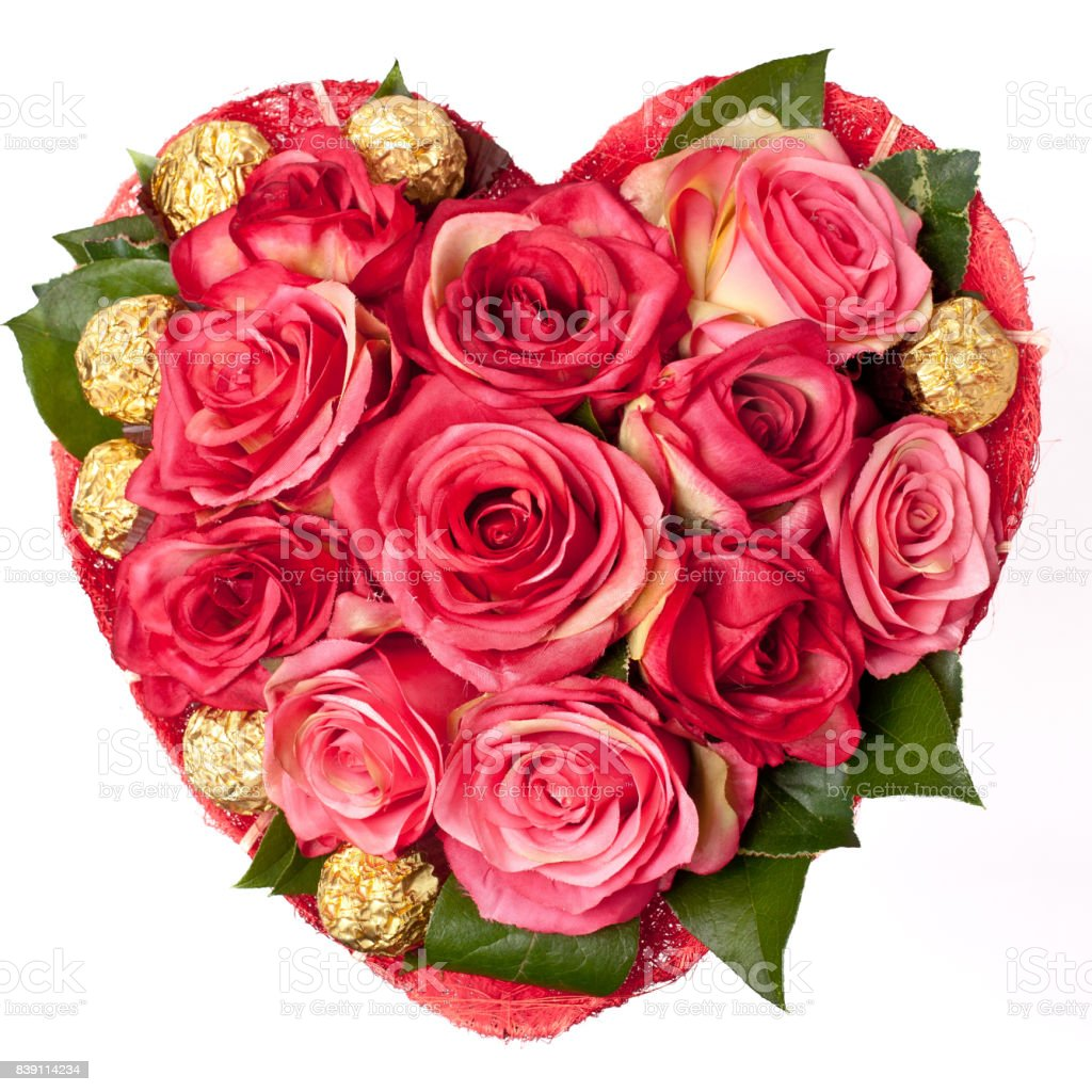 composition of Roses in the shape of heart stock photo