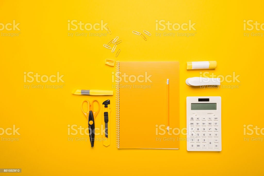 composition of school supplies stock photo