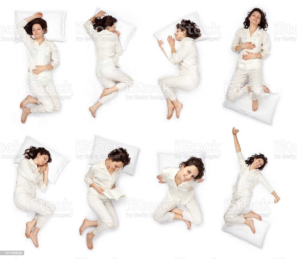 composition of sleep pose beautiful young girl with pajamas isol stock photo