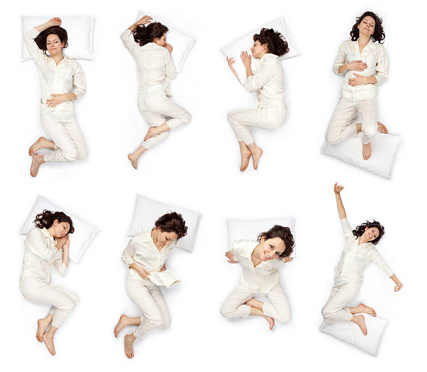 composition of sleep pose beautiful young girl with pajamas isol - position stock pictures, royalty-free photos & images