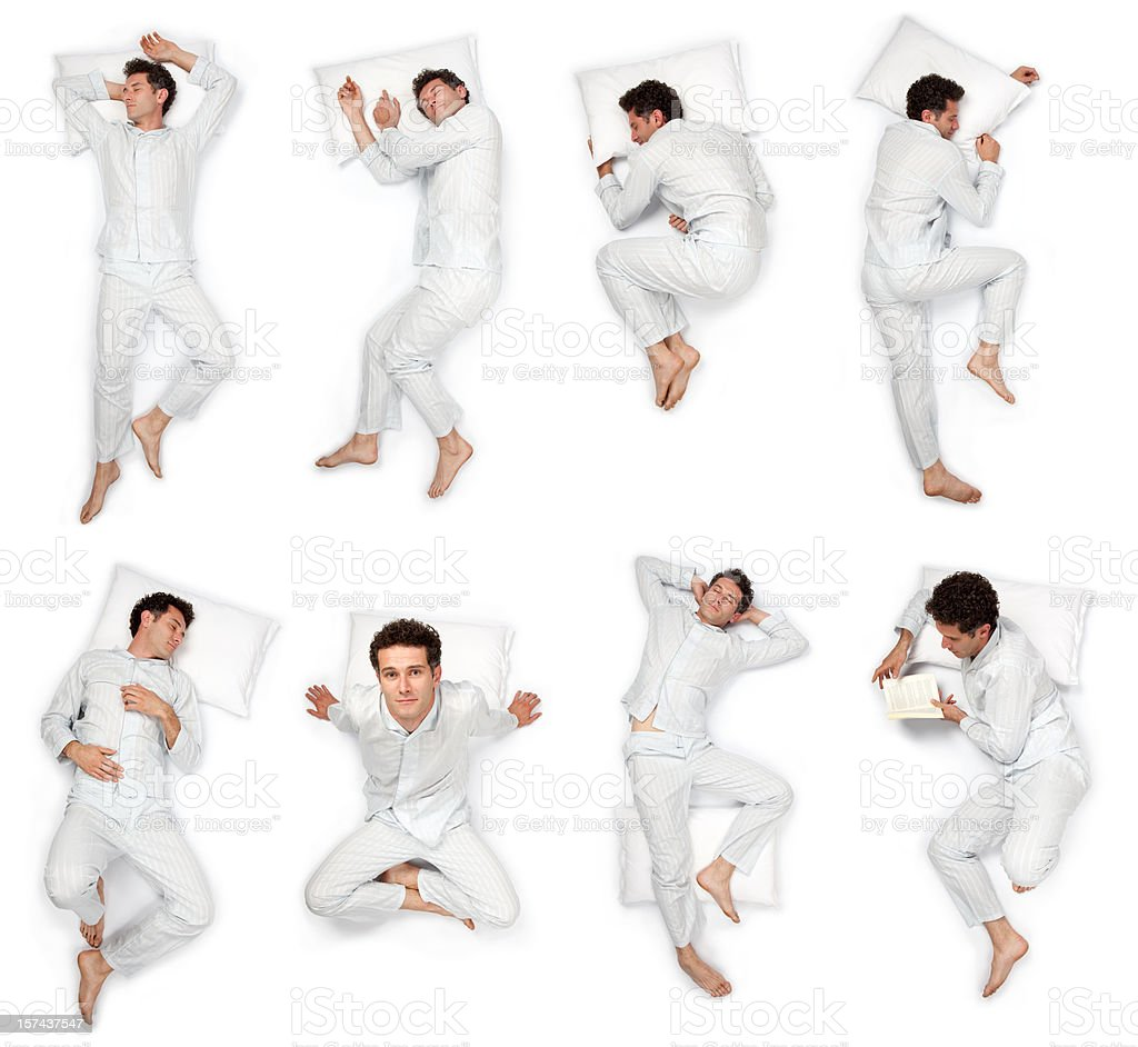 composition of sleep pose beautiful young man with pajamas isolated stock photo