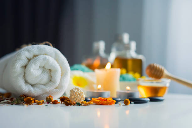 Composition of spa and wellness products on table stock photo