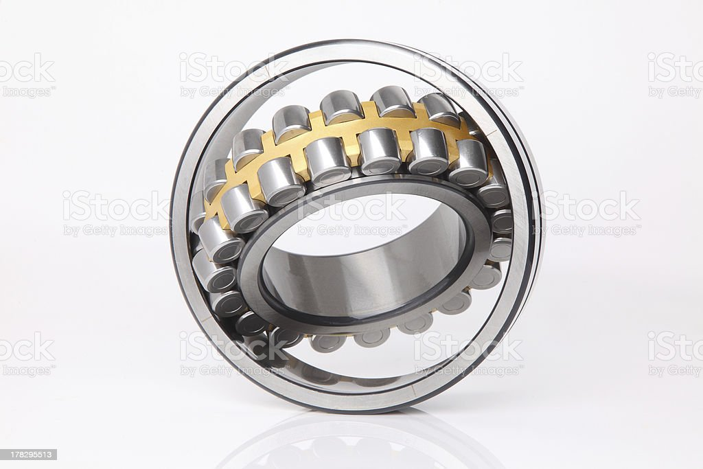Composition of steel ball roller bearings stock photo