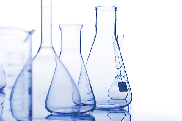 composition of the medical flasks - laboratory equipment stock photos and pictures