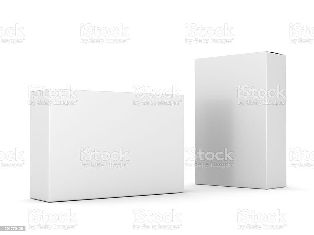 La composición de las dos cajas en blanco - foto de stock