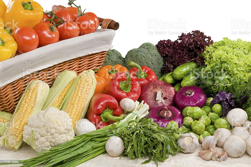 Composition of vegetable with basket royalty-free stock photo