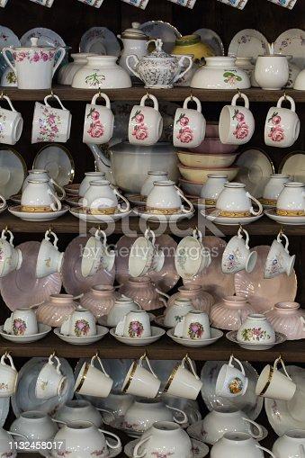 Composition of vintage tea cups.