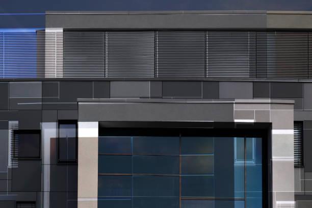 Composición de los paneles de pared, ventanas y persianas / persianas / persianas. Generada digitalmente arquitectura moderna abstracta fondo en colores metálicos. - foto de stock
