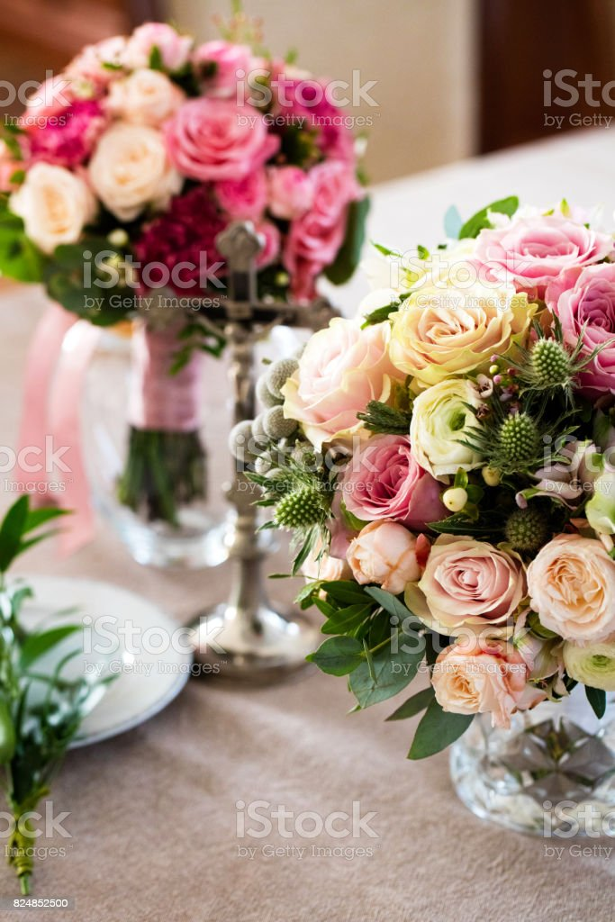 Composition of wedding bouquets of flowers stock photo