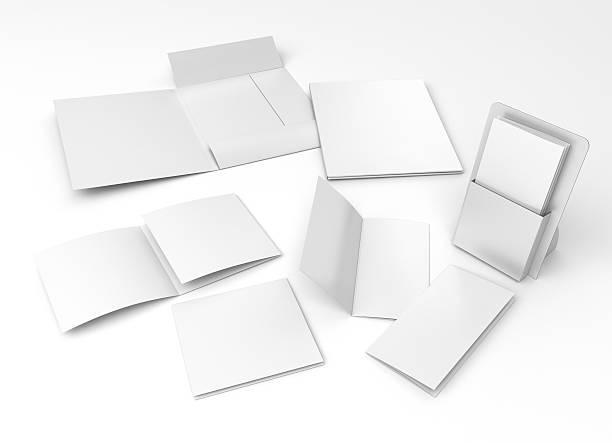 leere inhaber, flugblatt und ordner komposition - box falten stock-fotos und bilder