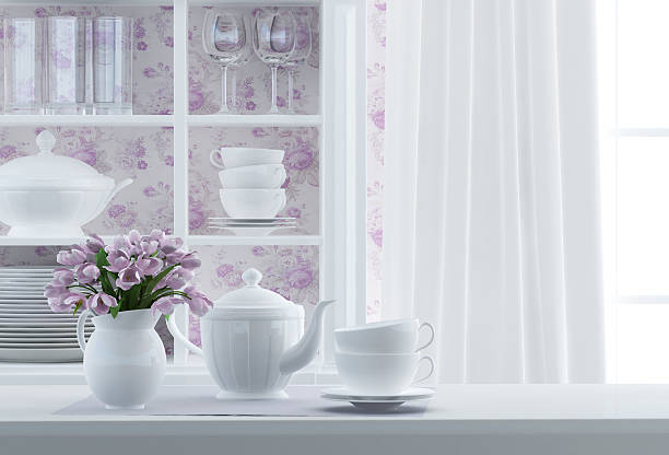 frühstück komposition - küche lila stock-fotos und bilder