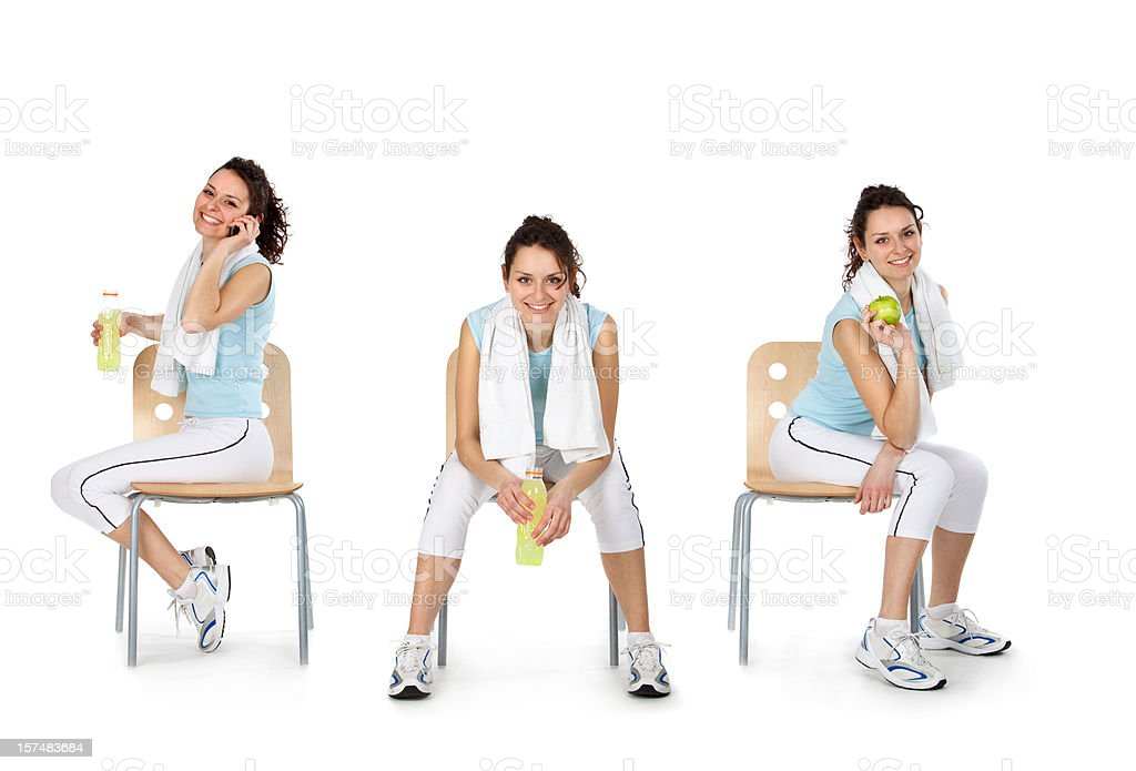 composition of young beautiful busy girl sport life style isolat royalty-free stock photo