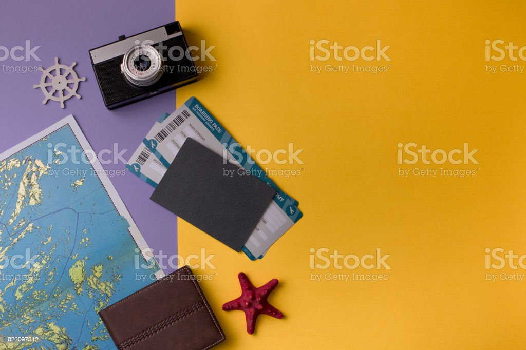 Composition on travel theme stock photo