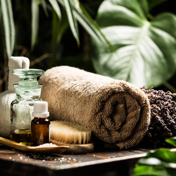 spa composition on tropical background - spa belgium stock photos and pictures