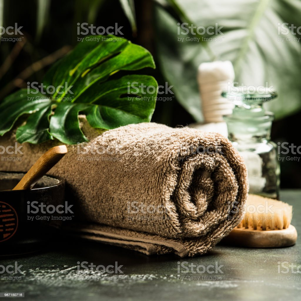 SPA composition on tropical background stock photo