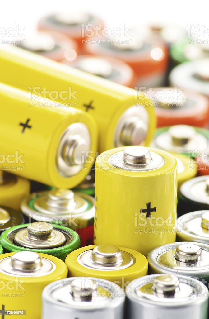 Composition with alkaline batteries. Chemical waste royalty-free stock photo