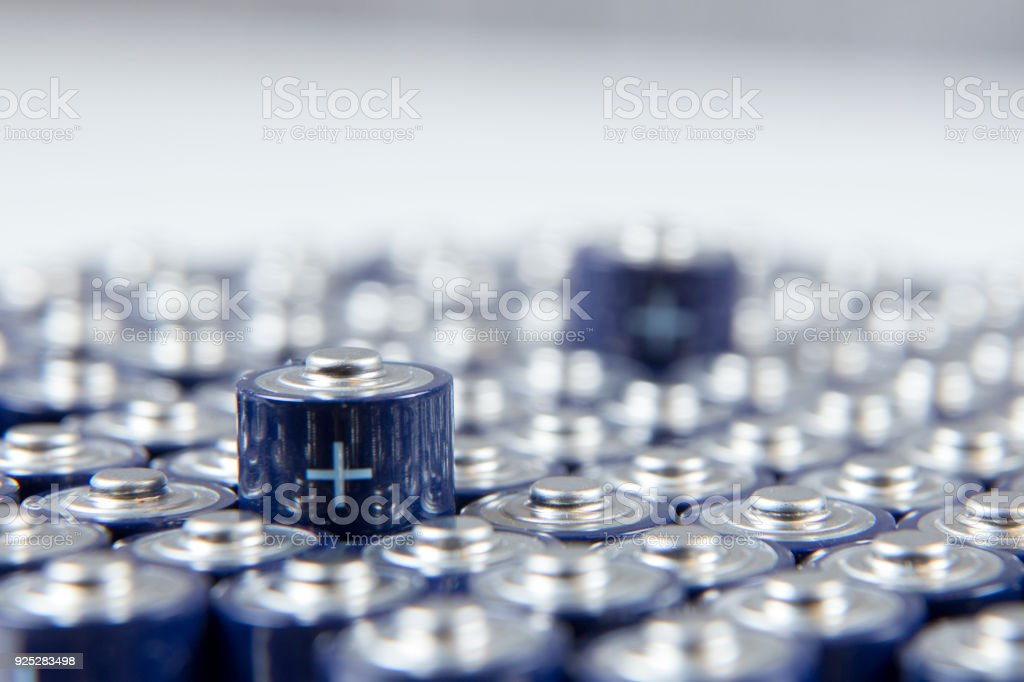 Composition with alkaline batteries stock photo