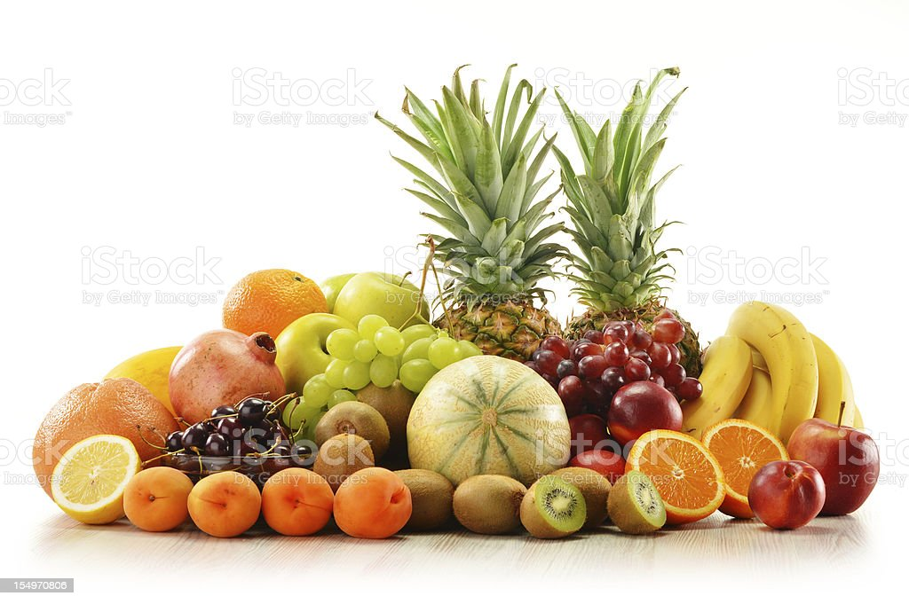 Composition with assorted fruits isolated on white royalty-free stock photo