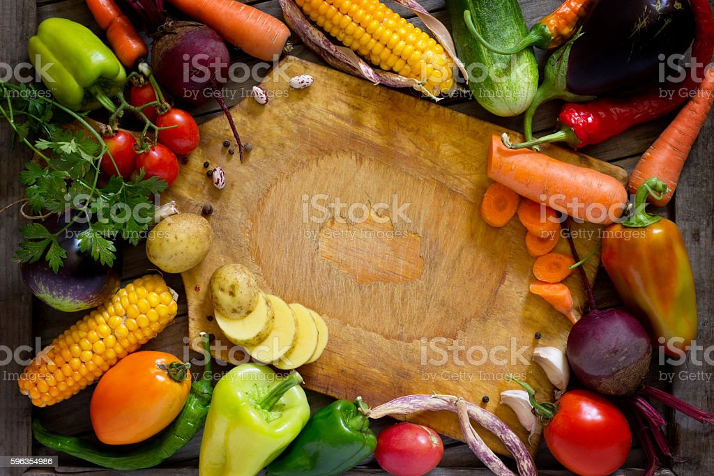 Composition with assorted organic raw vegetables. royalty-free stock photo