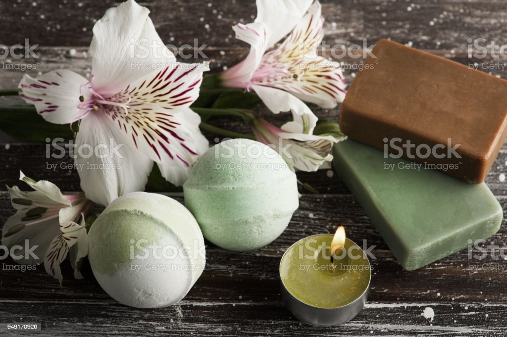 SPA composition with bath bombs stock photo