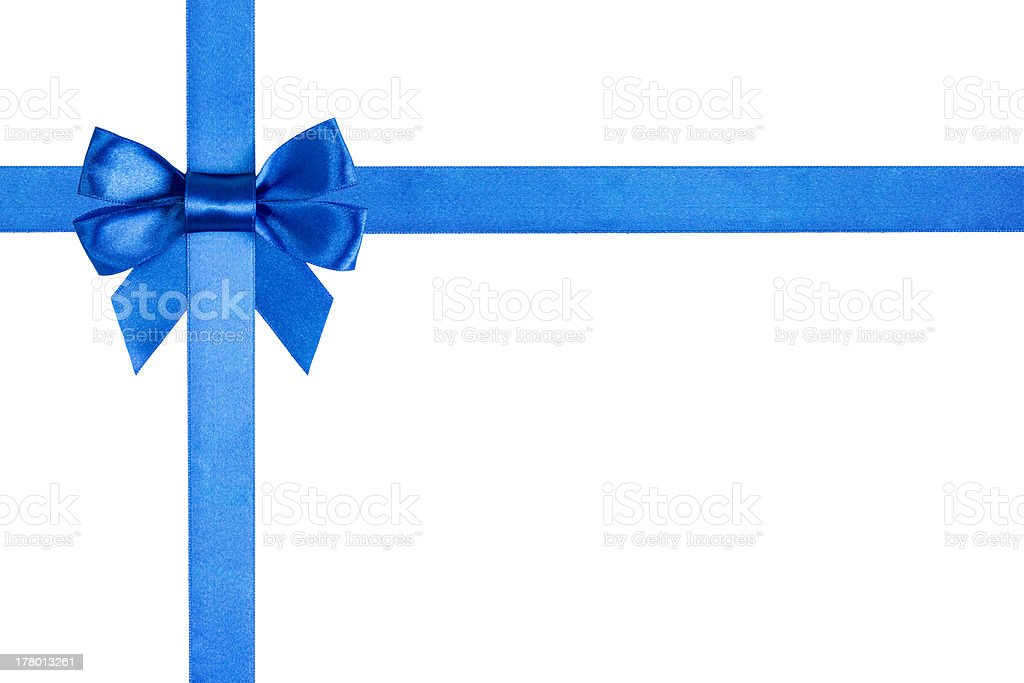 composition with blue ribbons and a bow stock photo