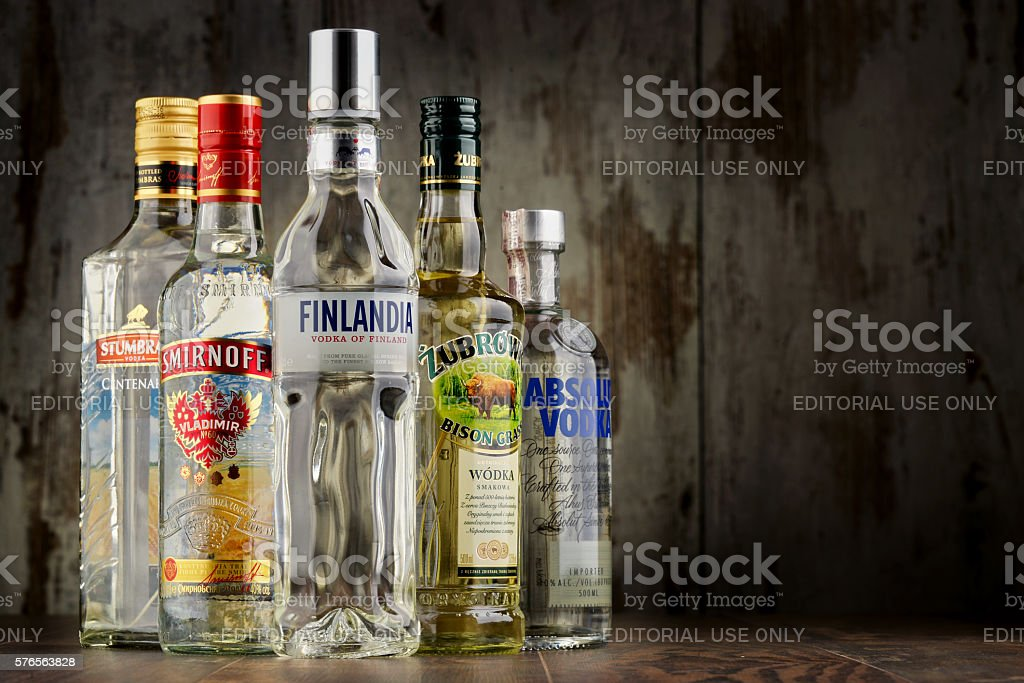 Composition with bottles of vodka stock photo