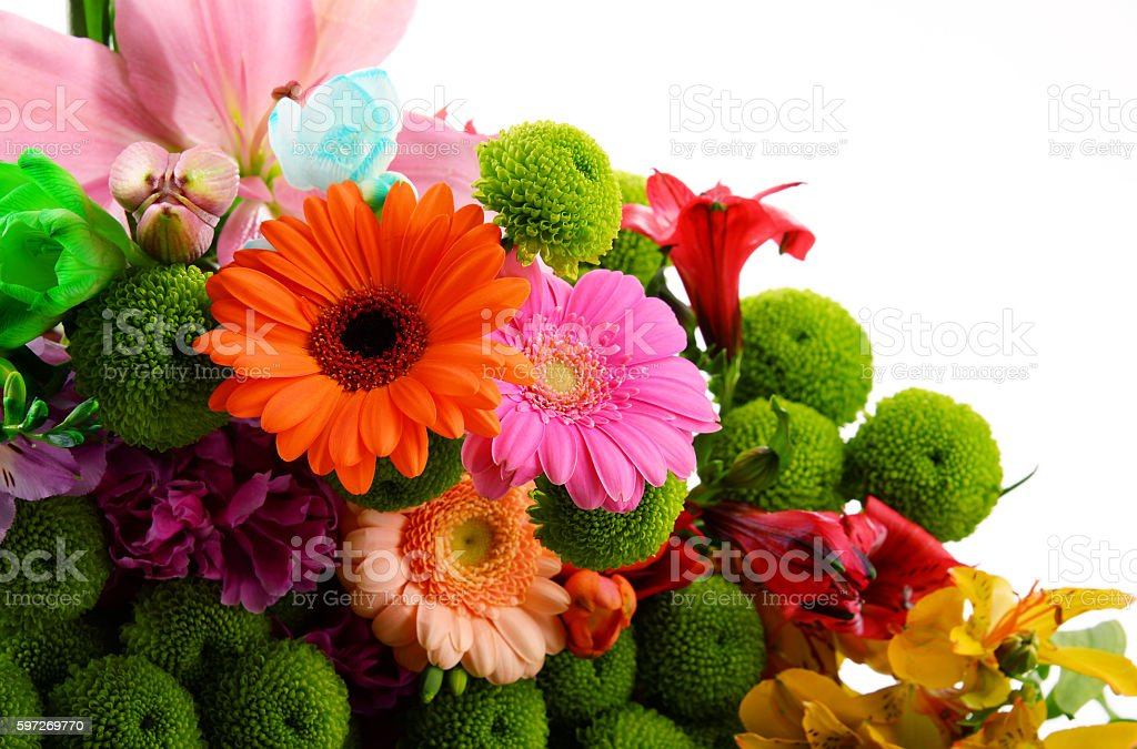 Composition with bouquet of flowers royalty-free stock photo