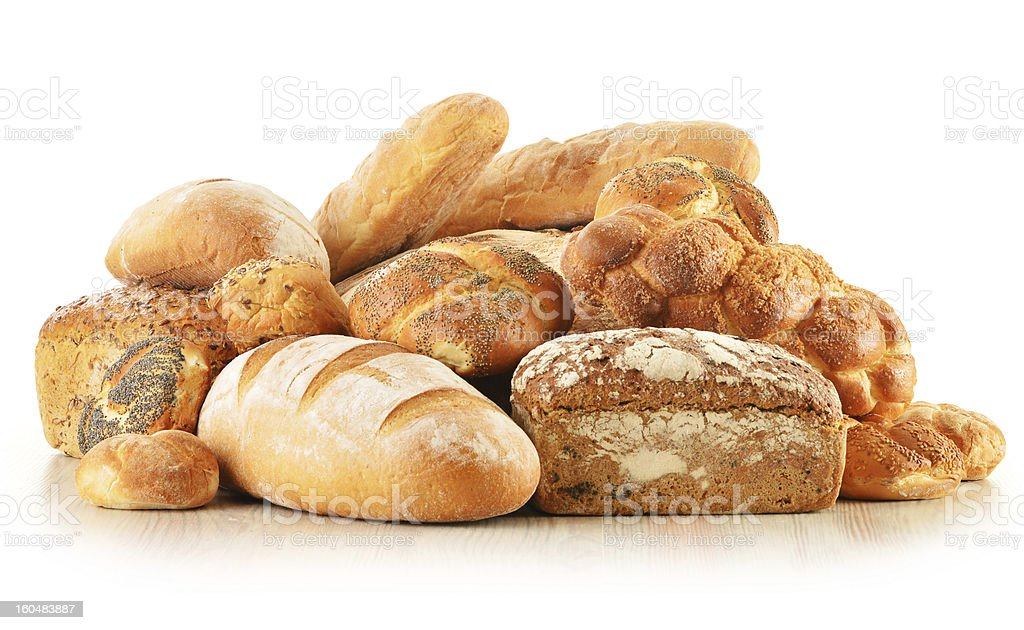 Composition with bread and rolls isolated on white stock photo